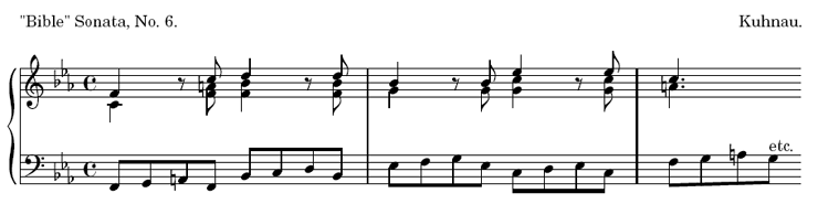 """Bible"" Sonata, No. 6. Kuhnau."